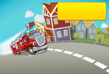cartoon fire brigade driving through the city with title frame space for text - illustration for children