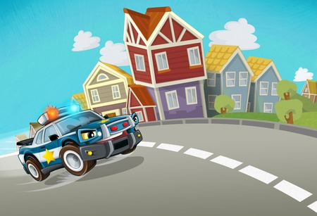 cartoon police chase through the city - illustration for children Фото со стока