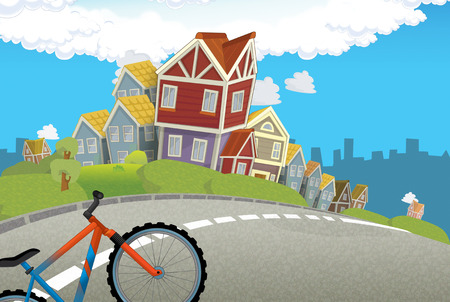 cartoon scene of a city stage for different usage and bicycle - illustration for children Banco de Imagens