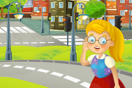 cartoon scene of park path in summer day with young woman - illustration for children Reklamní fotografie