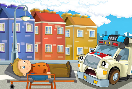 cartoon scene in the city with car happy ambulance and man injured on stretcher - illustration for children