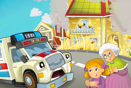 cartoon scene in the city with ambulance driving through the city to fire accident to help people - illustration for children