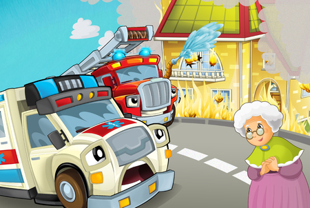cartoon scene in the city with ambulance driving through the city to fire accident to help people with fire brigade - illustration for children