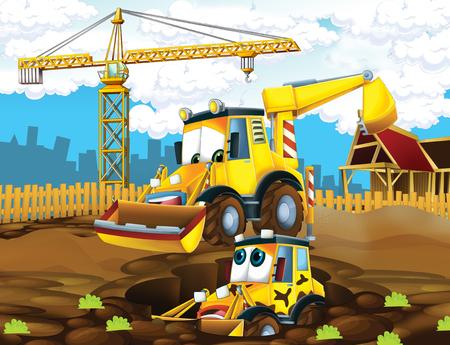 Escena de dibujos animados con excavadoras en el sitio de construcción padre e hijo - ilustración para los niños