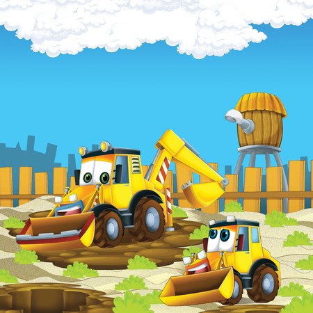 cartoon scene with diggers on construction site father and son - illustration for the children