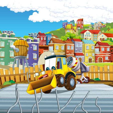 cartoon scene with digger on construction site - illustration for the children