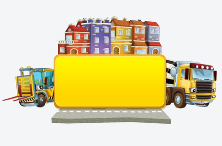 cartoon scene with banner - title page with city facade cars and street concrete mixer and forklift - illustration for children Stock Photo