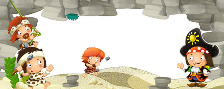 cartoon scene with cavemen and pirate captain frame for text - illustration for the children 版權商用圖片