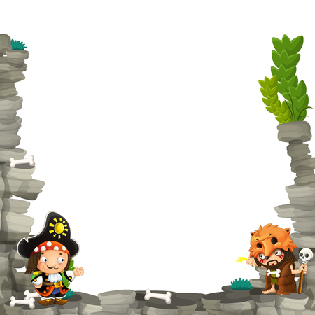 cartoon scene with cavemen and pirate captain frame for text - illustration for the children Stock Photo