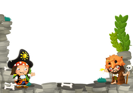 cartoon scene with cavemen and pirate captain frame for text - illustration for the children Фото со стока
