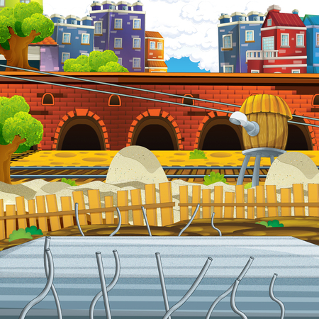 cartoon scene of construction site for different usage illustration for children