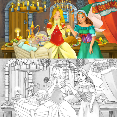 Cartoon fairy tale scene with princess by the table full of food with coloring page sketch - illustration for children Banque d'images - 122689363