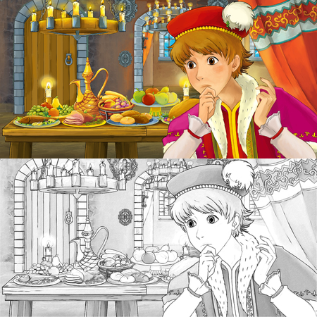 Cartoon fairy tale scene with prince by the table full of food witch coloring page sketch - illustration for children Banque d'images - 122689431