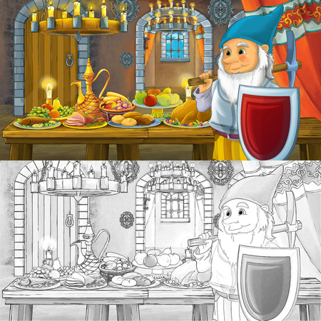 Cartoon fairy tale scene with dwarf prince by the table full of food with coloring page sketch - illustration for children Imagens