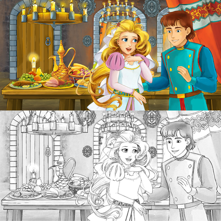Cartoon fairy tale scene with prince and princess married couple by the table full of food with coloring page sketch - illustration for children Фото со стока