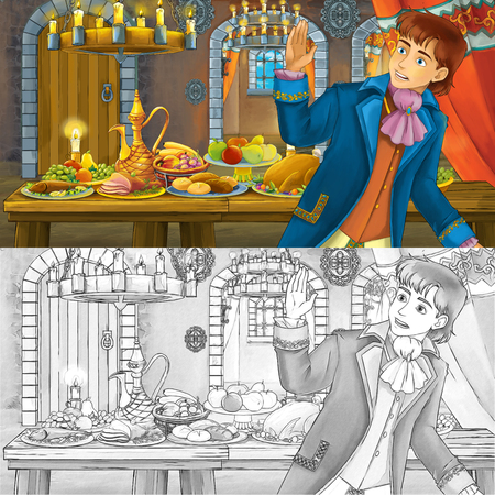 Cartoon fairy tale scene with prince by the table full of food witch coloring page sketch - illustration for children
