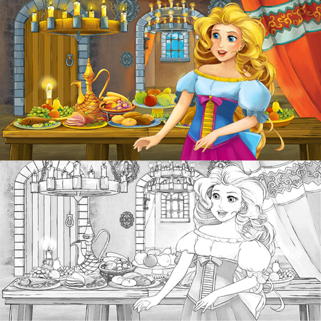 Cartoon fairy tale scene with princess by the table full of food with coloring page sketch - illustration for children Imagens