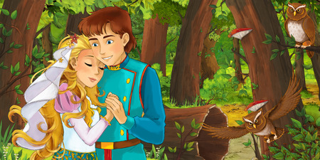 cartoon scene with happy young girl and boy prince and princess in the forest encountering pair of owls flying - illustration for children Banco de Imagens