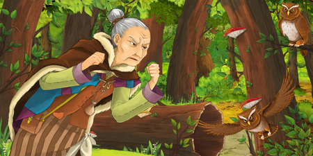 cartoon scene with happy old woman witch sorceress in the forest encountering pair of owls flying - illustration for children