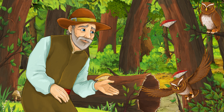 cartoon scene with happy older man farmer in the forest encountering pair of owls flying - illustration for children Reklamní fotografie