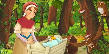 cartoon scene with happy woman with child in a crib in the forest encountering pair of owls - illustration for children Banco de Imagens