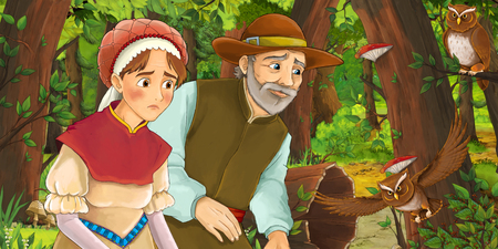 cartoon scene with happy woman and man in the forest encountering pair of owls - illustration for children