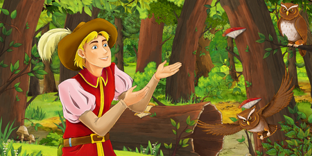 cartoon scene with happy young boy prince in the forest encountering pair of owls flying - illustration for children