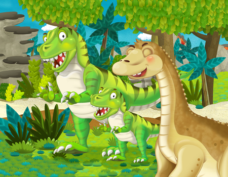 cartoon scene with dinosaur apatosaurus diplodocus brontosaurus with some other dinosaur with his or her child in the jungle - illustration for children