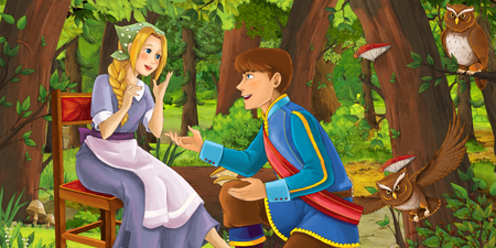 cartoon scene with happy young girl and boy prince and princess in the forest encountering pair of owls flying - illustration for children Reklamní fotografie