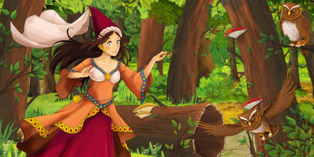 cartoon scene with happy young girl princess sorceress in the forest encountering pair of owls flying - illustration for children