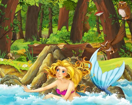 cartoon scene with happy young mermaid girl in the forest encountering pair of owls flying - illustration for children