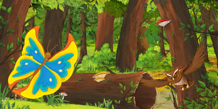 cartoon summer scene with deep forest and bird owl and butterfly - nobody on scene - illustration for children