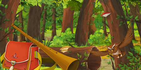 cartoon summer scene with deep forest and bird owl and bag with flute - nobody on scene - illustration for children Stockfoto