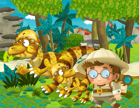 cartoon scene with dinosaur and some professor in the jungle - illustration for children Banque d'images - 124454999