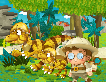 cartoon scene with dinosaur and some professor in the jungle - illustration for children