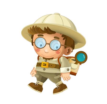 cartoon professor on white background illustration for children Stockfoto