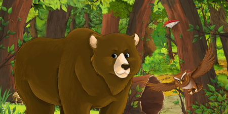 cartoon summer scene with deep forest and bird owl and bear - nobody on scene - illustration for children