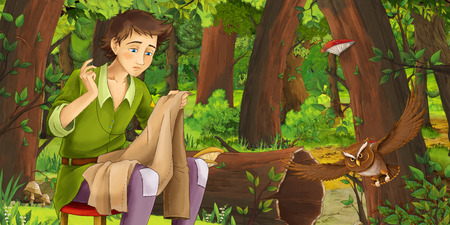 cartoon scene with older man farmer in the forest encountering pair of owls flying - illustration for children Banque d'images - 124455156