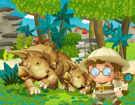 cartoon scene with professor in time travel meeting triceratops in the jungle illustration for children Stockfoto