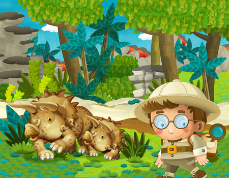 cartoon scene with professor in time travel meeting triceratops in the jungle illustration for children Banque d'images - 124455159