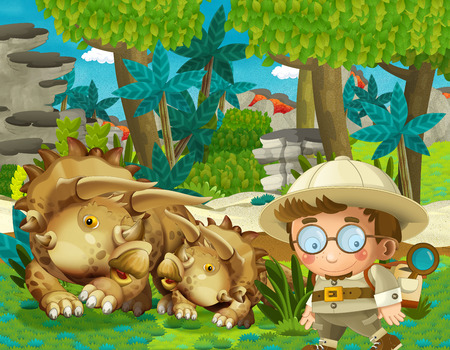 cartoon scene with professor in time travel meeting triceratops in the jungle illustration for children Banque d'images - 124455160