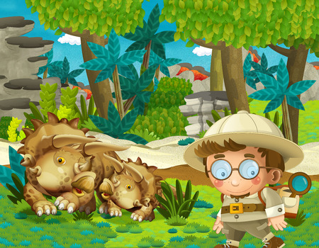 cartoon scene with professor in time travel meeting triceratops in the jungle illustration for children Banque d'images - 124455161