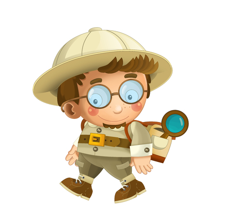 cartoon professor on white background illustration for children Banque d'images - 124455162