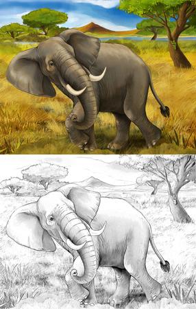 cartoon scene with elephant safari illustration for children Banque d'images - 124455404