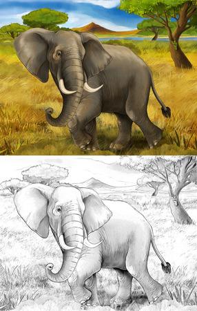 cartoon scene with elephant safari illustration for children Banque d'images - 124455406