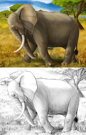cartoon scene with elephant safari illustration for children Banque d'images - 124455446