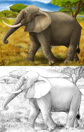 cartoon scene with elephant safari illustration for children Banque d'images - 124455447