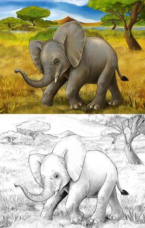 cartoon scene with elephant safari illustration for children Banque d'images - 124455449