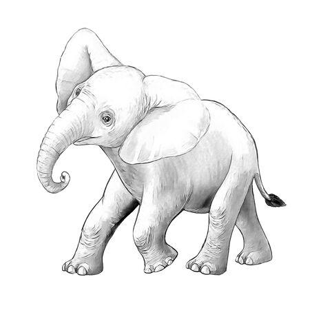cartoon scene with little elephant on white background safari coloring page sketchbook illustration for children Banque d'images - 124513020