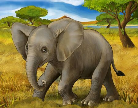 cartoon scene with elephant safari illustration for children Banque d'images - 124513034